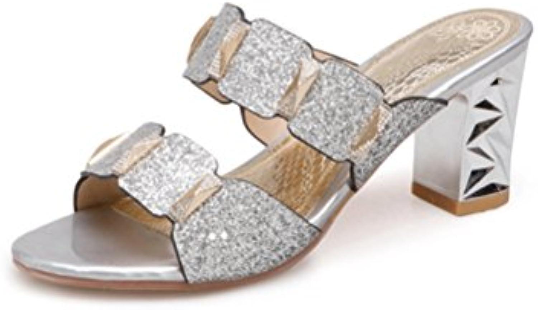 Frauen Zehen Mode Pailletten Maultiere Offenen Zehen Frauen Slip auf rohen Ferse Slide Sandalen Casual Pumps Dress Shoes 9acb08