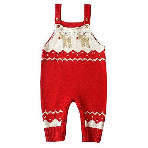 mxjeeio Kleinkind Baby Overall Schultergurt Weihnachten Hirsch Pullover Stricken Pullover Elch Babytrage Overall Baby Kleidung Strampler