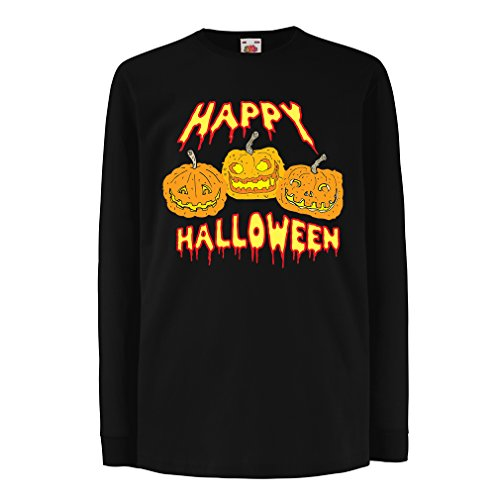 (Kinder-T-Shirt mit Langen Ärmeln Happy Halloween! Party Outfits & Costume - Gift Idea (14-15 Years Schwarz Mehrfarben))