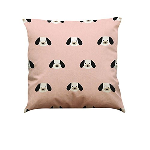 Kavitoz Pillow Cases,Vintage Dog Cotton Pillow Cover Sofa and Beautiful Waist Throw Cushion Cover Car Bed Home Decor (A)