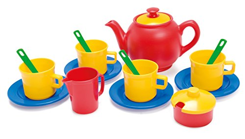 Dantoy Tea Set in Net, Role Play Tea Party with 17 Pieces Pretend Play Toys for Kids – Multi-Colour