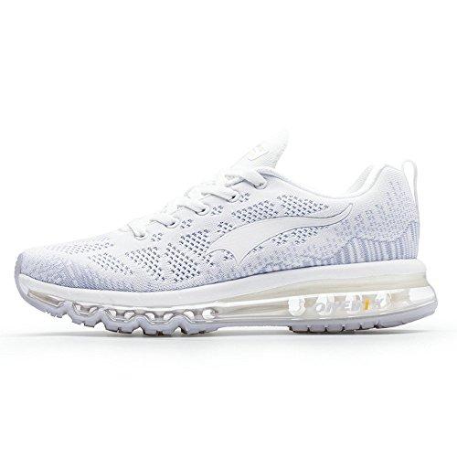 Onemix Zapatillas de Deporte Hombre Respirable Zapatos para Correr Athletic Air Cushion Running Sports Sneakers Blanco Plata Gris 40 EU