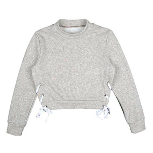Femmes Sweat-shirt, Morwind Couleur Unie Bandage Strappy Court Cou Rond Pull Capuche Gris