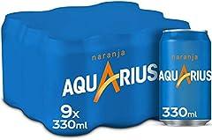 Aquarius Naranja - Bebida funcional con sales minerales, baja en calorías - Pack 9 latas 330 ml