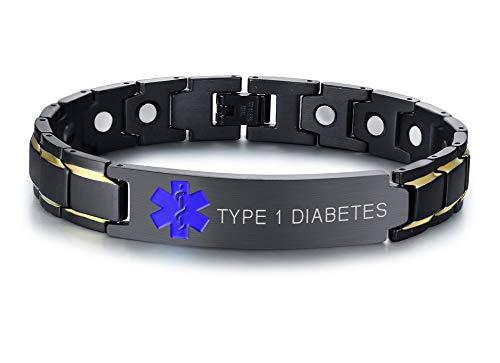 PJ JEWELRY Typ 1 Diabetes Schwarz Ion Überzogene Edelstahl Magnetfeldtherapie Gesundheit Emergment Medical Alert ID Armbänder für Männer Papa, 8,6