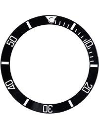 Uhr Schreiben Lünette Einfügen Passt Seiko Date Display Keramik Uhr Handgelenk Ersatzteile(Black)