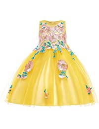 STRIR-Ropa Appliques de Encaje Vestido de niña de Flores para la Boda Princesa Vestidos de Dama Tul Bowknot Comunión Cumpleaños Bola…