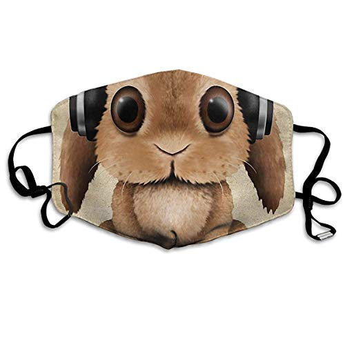 Comfort Earloop Face Masks, Dustproof Anti Germs Bacteria Virus Smog Mouth-Muffle with Adjustable Elastic Band - Windproof Bunny with Headphones Half Face Mouth Mask