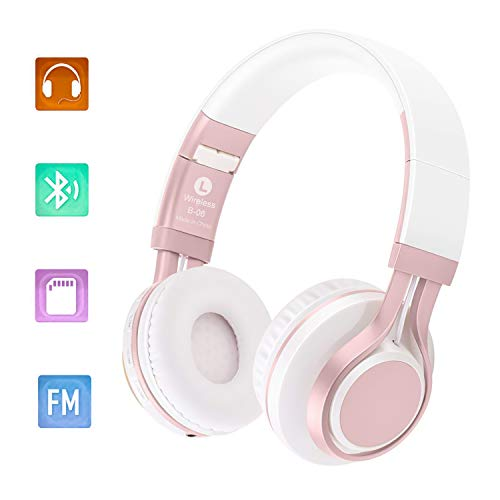 BhdLovely Bluetooth Over Ear Faltbarer Kopfhörer, 4.0 Noise Cancelling Bluetooth Headphones 4 in 1 Hallo-Fi Stereo Wireless Headset mit Mikrofon Mic/FM/TF Karte/AUX für PC TV Smart Phones & Tablets