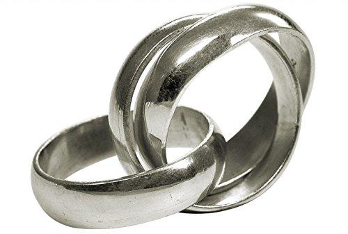 SILBERMOOS Damenring Dreierring verspielt massiv handgeschmiedet glänzend Sterling Silber 925, Größe:56 (17.8)