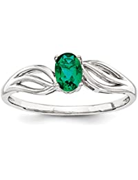 ICE CARATS 925 Sterling Silver Created Green Emerald Band Ring Birthstone May Gemstone Fine Jewelry Gift Set For Women Heart