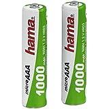 Hama - Rechargeable NiMH Batteries, Níquel e Hhidruro Metálico, 1000 mAh, 1.2 V, AAA Micro, 2 piezas, 13 g