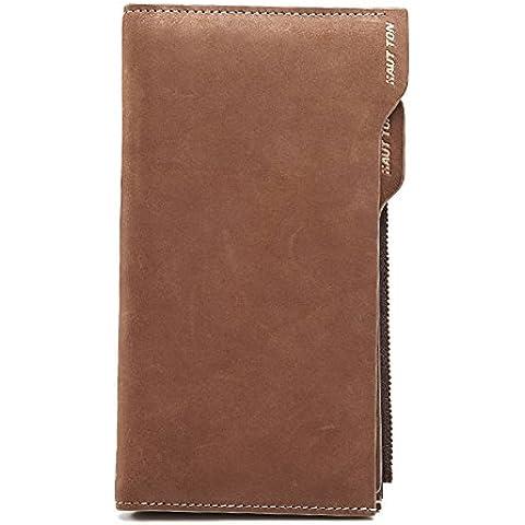 Portafogli degli uomini/Vintage glassato portafoglio con zip grande borsa in pelle/Portafoglio in pelle multifunzionale