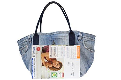 Damen Jeans Hose Shopper mit Glitzer Stern,Handtasche,Henkeltasche, Schultertasche,Hobo Bag JL922 Jeans Grau Henkel