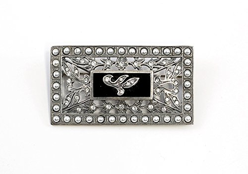 925er Silber Jugendstil-Brosche mit Onyx, Swarovski-Steinen und Perlen