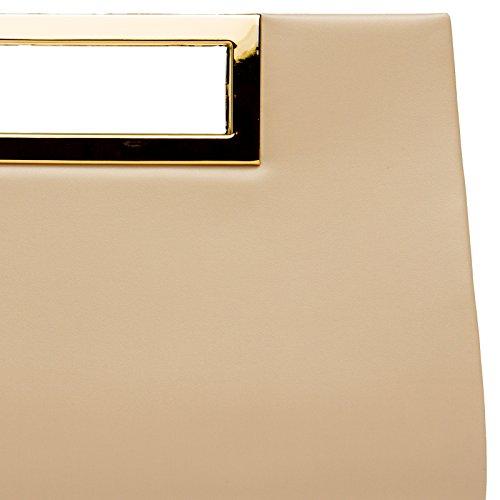 CASPAR TA408 elegante Damen XL Clutch Tasche / Abendtasche / Umhängetasche mit langer Kette Nude