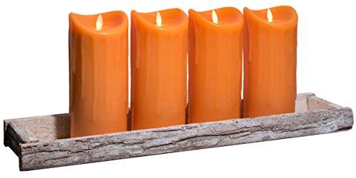 Dekoschale Holz Tablett 59x14cm inkl. 4 LED Kerzen 23cm Orange bewegte Flamme Timer Kerzentablett Shabby Chic Landhaus