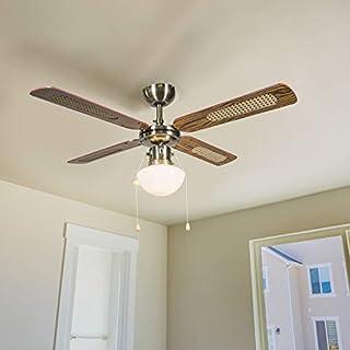 QAZQA Retro Ceiling Fan with Light Wind 42 Bronze Glass/Wood/Steel Round E14 Max. 1 x Watt/Indoor Lighting/Lights/Lamps/Living Room/Kitchen
