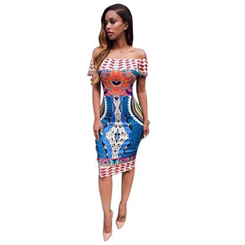 Hot! Damen Kleid Yesmile Mode Frauen Traditionellen Afrikanischen Print Dashiki Bodycon Sexy Knielangen Kleid Schrägstrich Schulter Kurze Ärmel Kleid Paket Hüfte Mantel Kleid (M, Mehrfarbig)