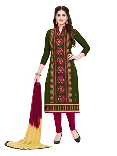 PSHOPEE Mehandi Green & Maroon Cotton Embroidery Unstitched Churidar Suit Salwar Suit...