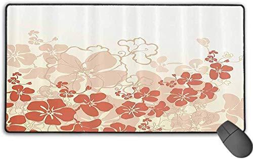 Erweitertes, rutschfestes Mousepad aus Gummi, rutschfestes Mousepad auf Gummibasis mit aufgenähter Kante, Hawaii - Hawaii Flowers Silhouette Tropical Plants Ornamental Illustration - 40 x 80 cm