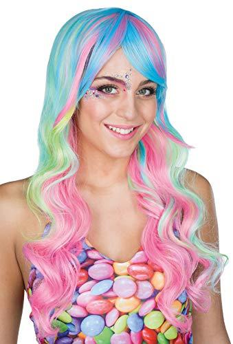 Rubie's Candy Lady Perücke Langhaarperücke Pastelltöne Karneval Einhorn Meerjungfrau