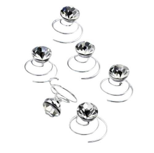 Accessoires de Mariée, Accessoires de Bal, Barrettes à ressort en tourbillon effet cristal x 6