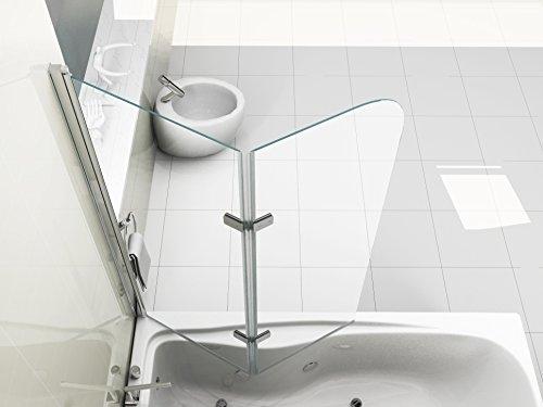 faltbare duschwand fuer badewanne HNNHOME - 180° Schwenkbar, Platte 6 mm Glas Duschwand Badewanne - Klein