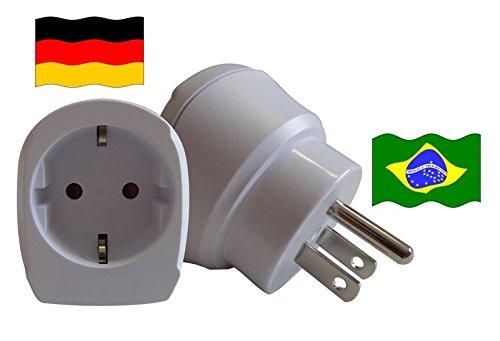 Travel Plug Brasilien für Geräte aus Deutschland. (Schutzkontakt und Kindersicherung, 1650 Watt Leistung) - Brasilien Band