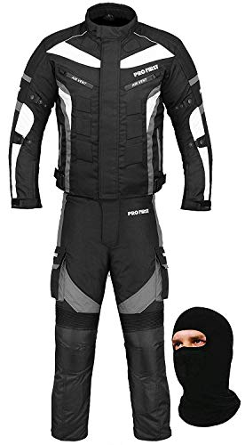 PROFIRST Wasserdichtes Motorrad Klage Gewebe (Jacke + Hose + Balaclava) Motorradbekleidung für alle Wetter - Cordura Fabric - CE Armour - 6 Packs Entwurf - Grau/Grey - X-Large / 42 Inch Chest -