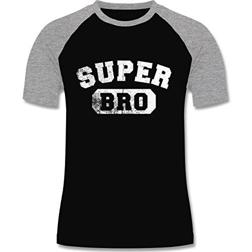 Shirtracer Bruder & Onkel - Super Bro - Vintage-&Collegestil - S - Schwarz/Grau Meliert - L140 - Herren Baseball Shirt