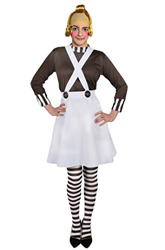 Halloween Oompa Loompa Kostüme (KLEINE LEUTE = VERKLEIDUNG FÜR FRAUEN = DER GELBEN STRASSE IN EINEM VERZAUBERTEM LAND =KOSTÜM MIT ORANGER HALB GUMMI PERÜCKE = VON ILOVEFANCYDRESS®= DAS KOSTÜME IST ERHALTBAR IN 5 VERSCHIEDENEN)