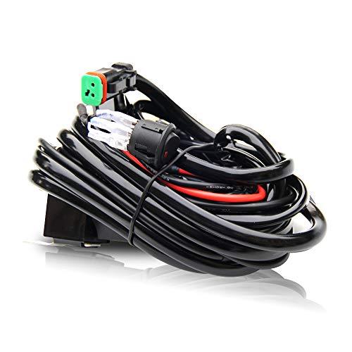 Kabelbaum für LED-Lichtleiste, 300 W, 12 V, 40 A, Sicherungsrelais, An-/Aus-Schalter-Relais, 14 AWG, 3,6 m Länge, universell anpassbar, Lichtleisten-Zubehör (Led Light Bar Wiring Kit)