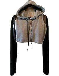 ca9e0a94b26d ISSHE Hoodie Sweatshirt Damen Cop Top Langarm Kapuzenpullover Kurze Pullover  mit Kapuze Hoodies Frauen Kapuzen Hoodie Sweatshirts…