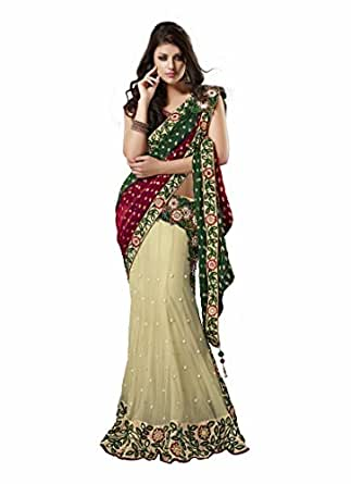 Dazzling Multicolor Indian Pre-stitch Ethnic Party Wear Saree
