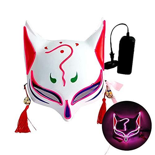 L'VOW Halloween Máscara Zorro japonés LED se Enciende