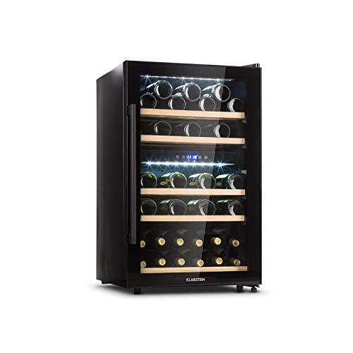 Klarstein Barossa 40D Weinkühlschrank mit Glastür • Weinkühler • Weintemperierschrank • 2 Zonen • 135 L • 85 W • 41 Flaschen • 5-18 °C • 5 Holzroste • Weiß- und Rotwein • Edelstahlgriff • schwarz