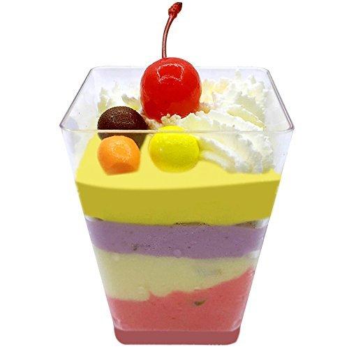 Kleine Dessertschälchen, 50 Stk., Kunststoff, eckig, Sauce, Vorspeise, Partygeschirr, Deko