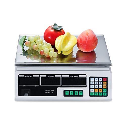 Amberzcy Bilance Alimentari 40kg capacità Digitale Informatica Prezzo Scala Elettronico Casa Negozio Verdure Frutta Pesatura Bilancia (Capacity : 30KG/1g, Edition : 110V)