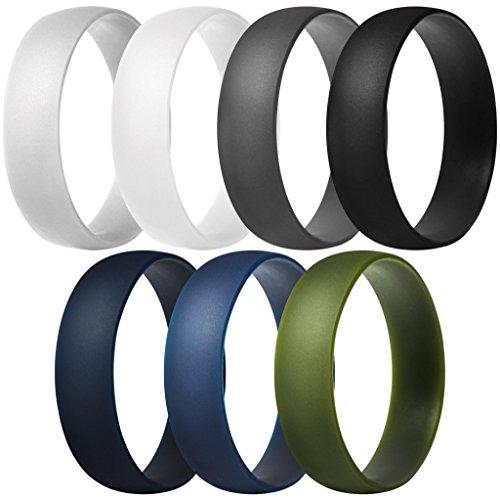 ThunderFit Silikon Ringe | 7Stück | 1Pack Hochzeit Bands für Herren und Damen 6mm Breit, Dark Grey, Light Grey, White, Black, Dark Teal, Dark Blue, Dark Olive Green, 9.5-10 (19.8mm) -