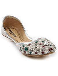 Womens Ladies Diamante Traditional Ethnic Bridal Handmade Leather Khussa  Jutti Flat Mojari Indian Pumps Slip On Shoes Sizes 3-8 UK… 39c2e7d08