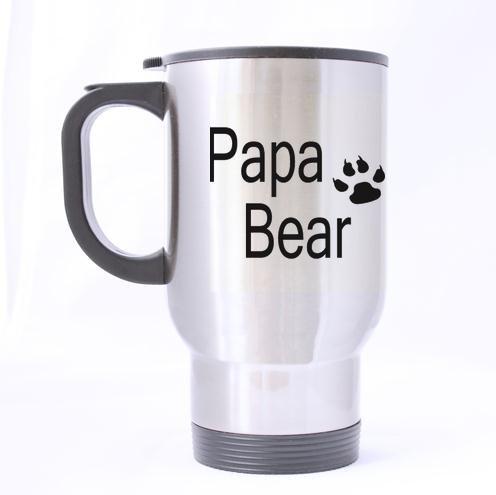 Populaire Papa Ours Funny Quotes Motif 100% en Acier Inoxydable 396,9 Gram Mug de Voyage (Sliver)
