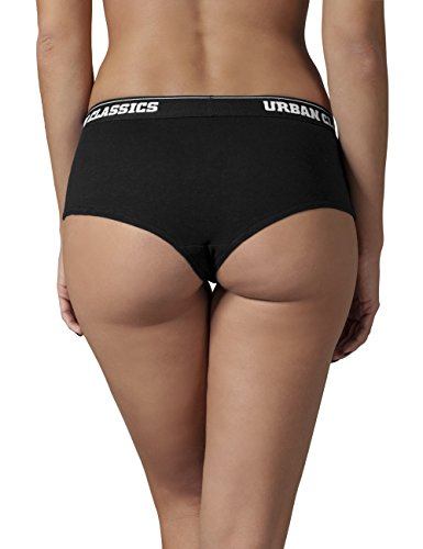 Urban Classics Damen Sporthose Ladies Logo Panty Double-Pack Schwarz (Black 7)