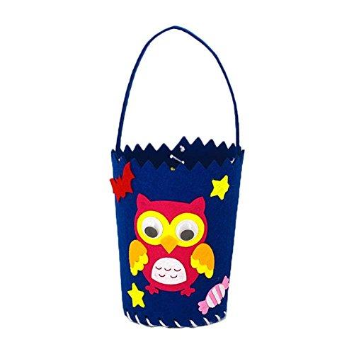 Zentto Halloween Trick or Treat Taschen, Körbe Süße Candy Sugar Tasche DIY Handgefertigt Materialien für Kinder Kinder Halloween Party Supplies Blaue Eule (Halloween Or Treat Trick Körbe)