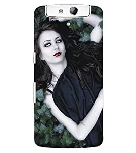 ColourCraft Lovely Lady Design Back Case Cover for OPPO N1