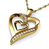 DEPHINI Gold Halskette - Gelb Hallmarked 18 Karat Gold - Double Love Herz Anhänger mit CZ-Kristallen - Feine Schmuck Frau Halskette - 18 Karat Gold Kette 18 Zoll - A + Zirkonia - Geschenke für Frauen