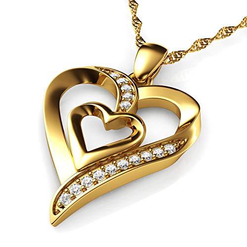 DEPHINI Gold Halskette - Gelb Hallmarked 18 Karat Gold - Double Love Herz Anhänger mit CZ-Kristallen - Feine Schmuck Frau Halskette - 18 Karat Gold Kette 18 Zoll - A + Zirkonia - Geschenke für Frauen (Gold Ketten Frau)
