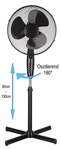 Standventilator Ø41cm | Oszillierender Ventilator | Windmaschine | Klimagerät | Turmventilator | Ventilator | Bodenventilator | Fan | 3 Stufen | Höhenverstellbar | Leiser Betrieb (Ø41cm)