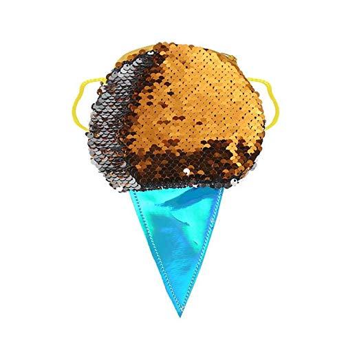OneMoreT Süße Damen Münzbörse mit glitzernden Pailletten Eis Muster Schultertasche Mini-Kartenschlüssel Halter Taschen Orange -