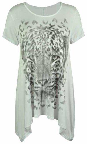 Purple Hanger - Haut T-Shirt Femme Manche Courte Ourlet Inégal Imprimé Tête De Tigre Extensible Grande Taille Blanc